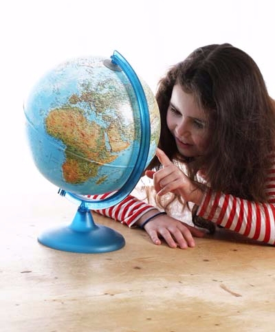 Lucy with globe